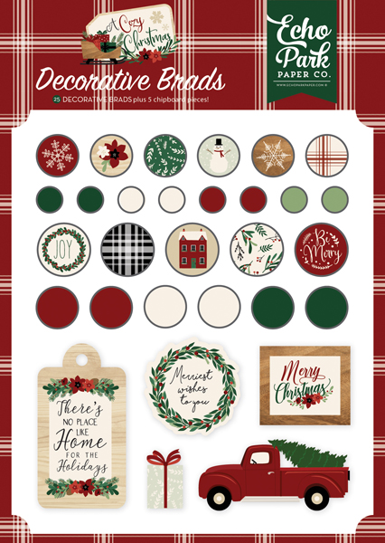 ACC189020 A Cozy Christmas Decorative Brads