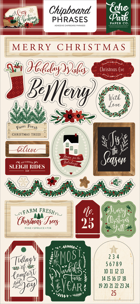 ACC189022 A Cozy Christmas 6x13 Chipboard Phrases