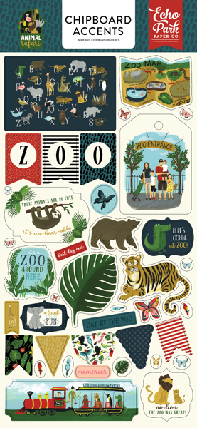 ZOO167021 Animal Safari 6x13 Chipboard Accents