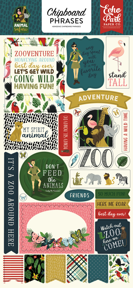 ZOO167022 Animal Safari 6x13 Chipboard Phrases