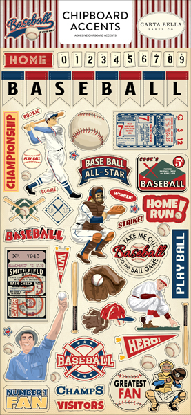 CBBA95021 Baseball Chipboard Accents