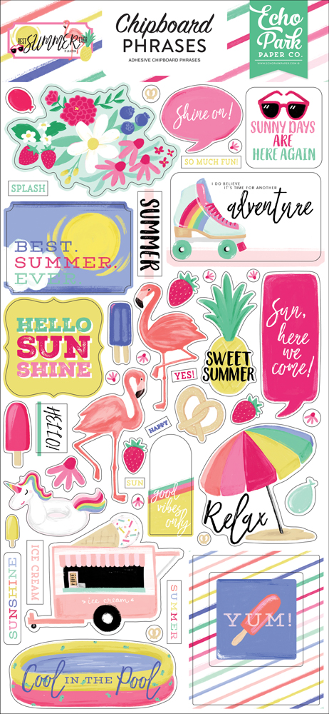 BS182022 Best Summer Ever 6x13 Chipboard Phrases