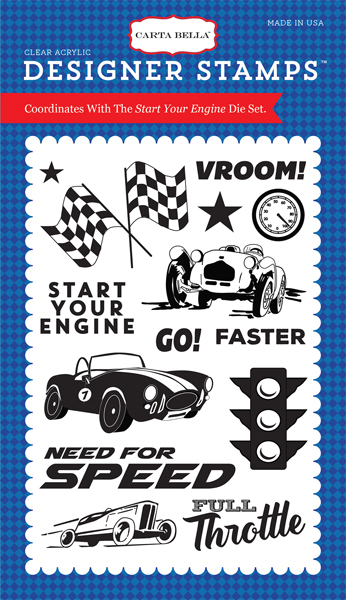 CBCAR69044 Start Your Engine 4X6 Stamp