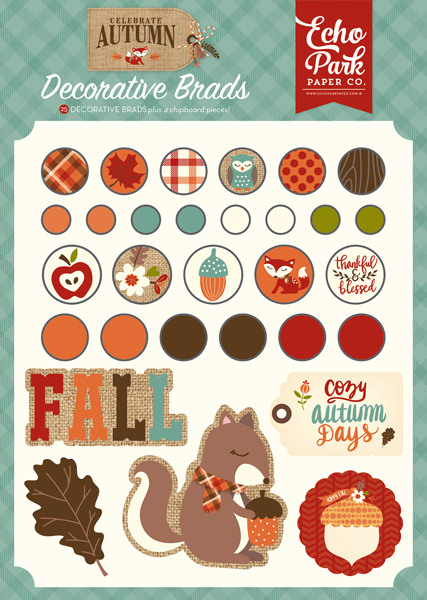 CAU158020 Celebrate Autumn Decorative Brads