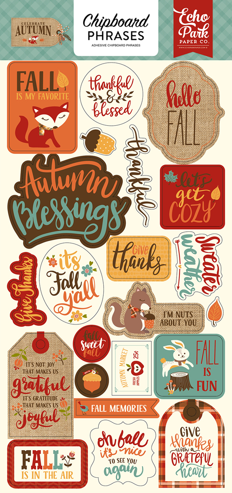 CAU158022 Celebrate Autumn 6x12 Chipboard Phrases
