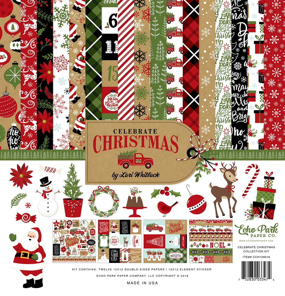 Green tan Burlap Black Echo Park Paper Company CCH159021 Celebrate Christmas 6x12 Accents chipboard red