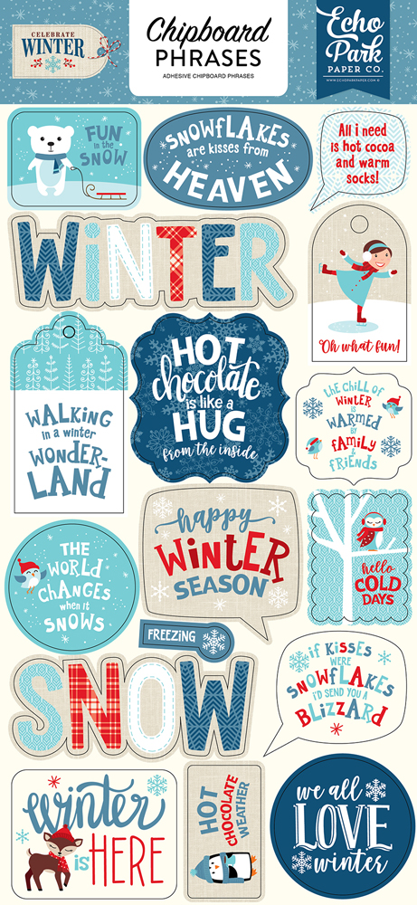 CW162022 Celebrate Winter 6x12 Chipboard Phrases