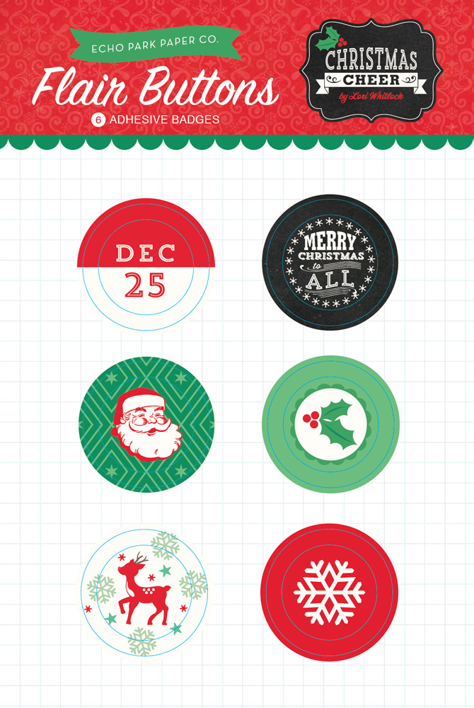Christmas Cheer Flair Buttons Packaging
