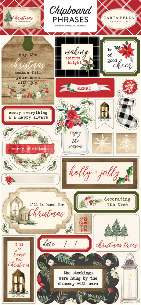 CBCH89022 Christmas 6x12 Chipboard Phrases