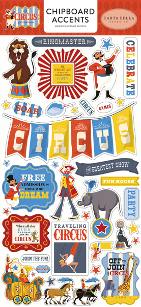CBCI93021 Circus 6x12 Chipboard Accents