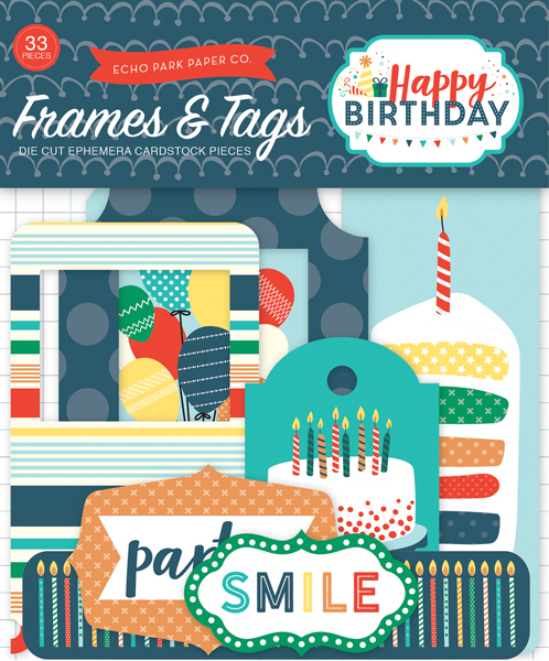 HBB141021 Happy Birthday Boy Frames and Tags Ephemera