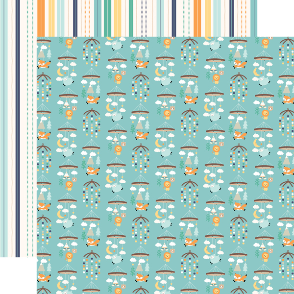 Green Blue Teal Fоur Paсk Echo Park Paper Company Hello Baby Boy Collection Kit Paper Yellow