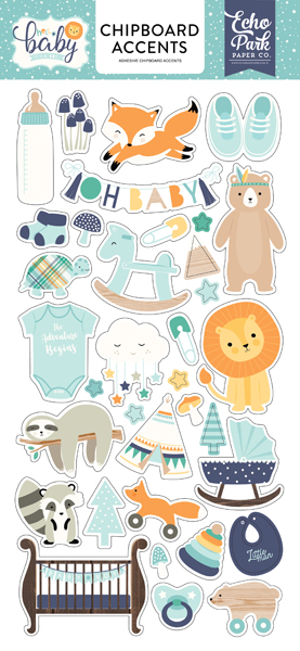BB172021 Hello Baby Boy 6x13 Chipboard Accents