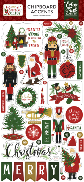 HCSC188021 Here Comes Santa Claus Chipboard Accents