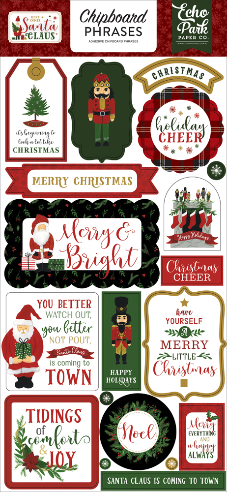 HCSC188022 Here Comes Santa Claus Chipboard Phrases