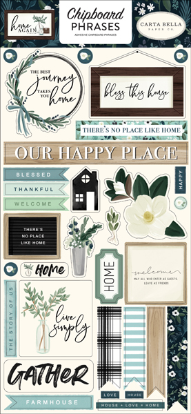 CBHOA109022 Home Again Chipboard Phrases