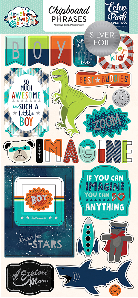 ITB147022 Imagine That Boy 6x13 Chipboard Phrases