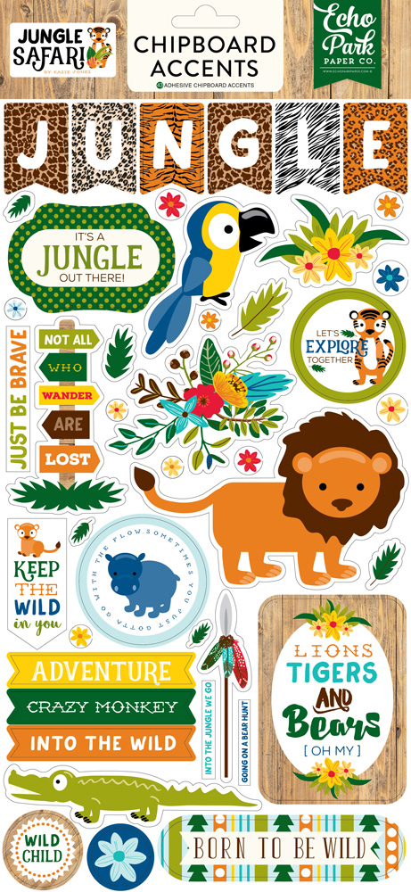 JS117022 Jungle Safari 6x12 Chipboard