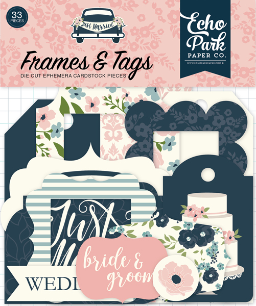JM153025 Just Married Frames & Tags Ephemera