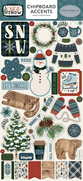 CBIS92021 Let It Snow 6x12 Chipboard Accents