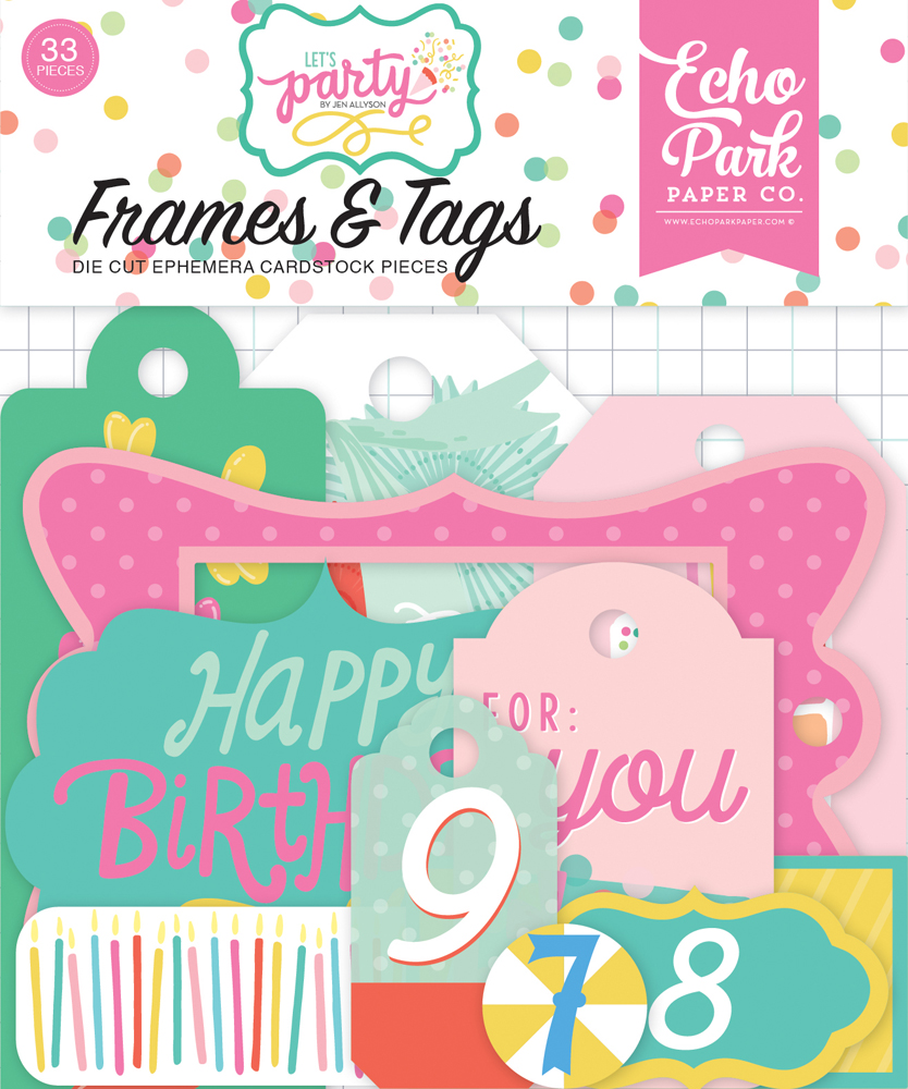 LP170025 Lets Party Frames & Tags Ephemera
