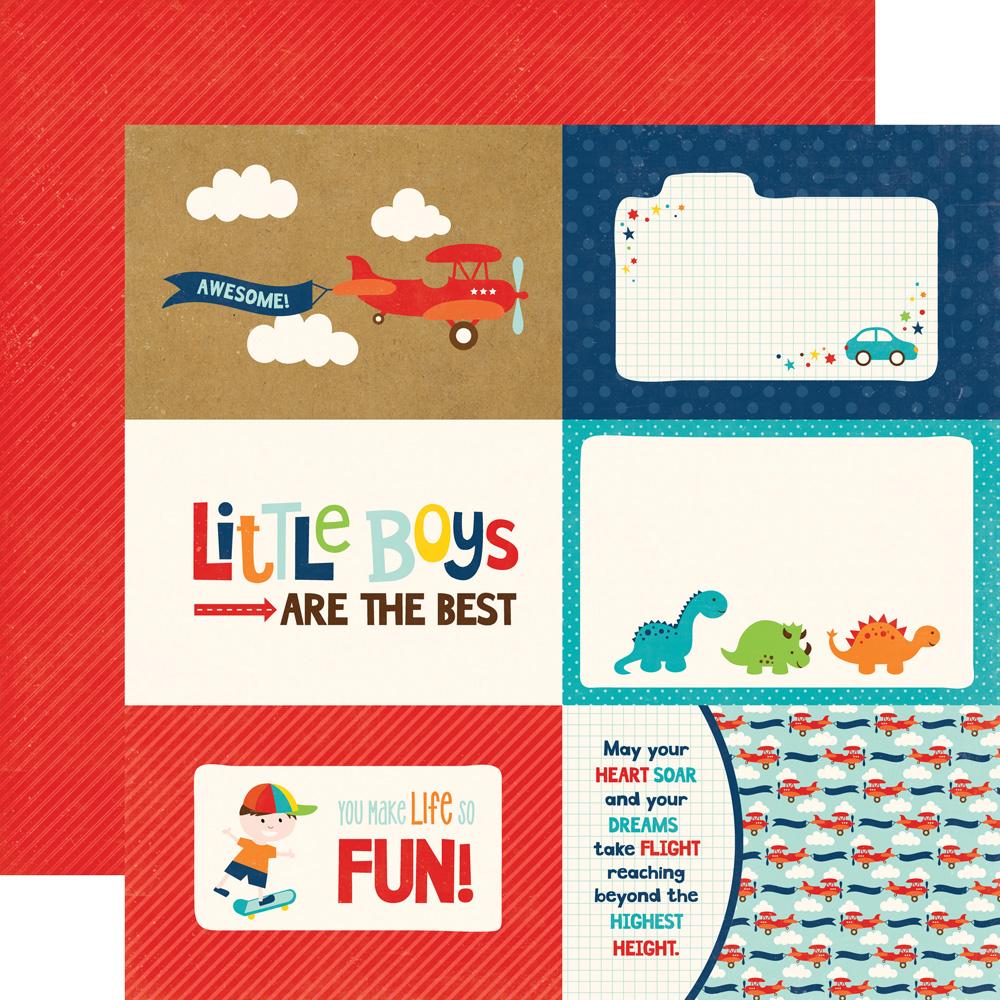 Little Man Echo Park Paper 4x6 Journaling Cards 12x12 Scrapbook Paper