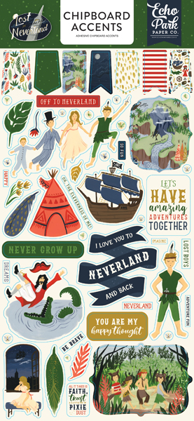 LIN179021 Lost In Neverland 6x13 Chipboard Accents