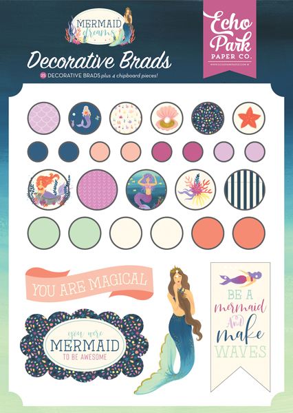 MDR175020 Mermaid Dreams Decorative Brads