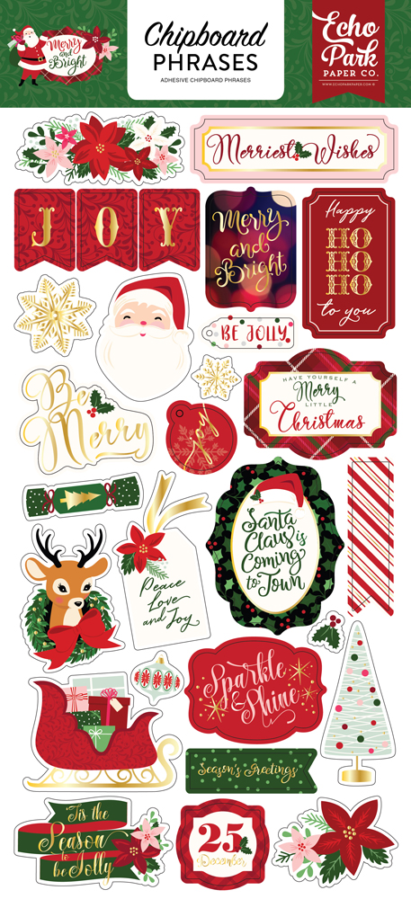 MB160022 Merry and Bright 6x12 Chipboard Phrases