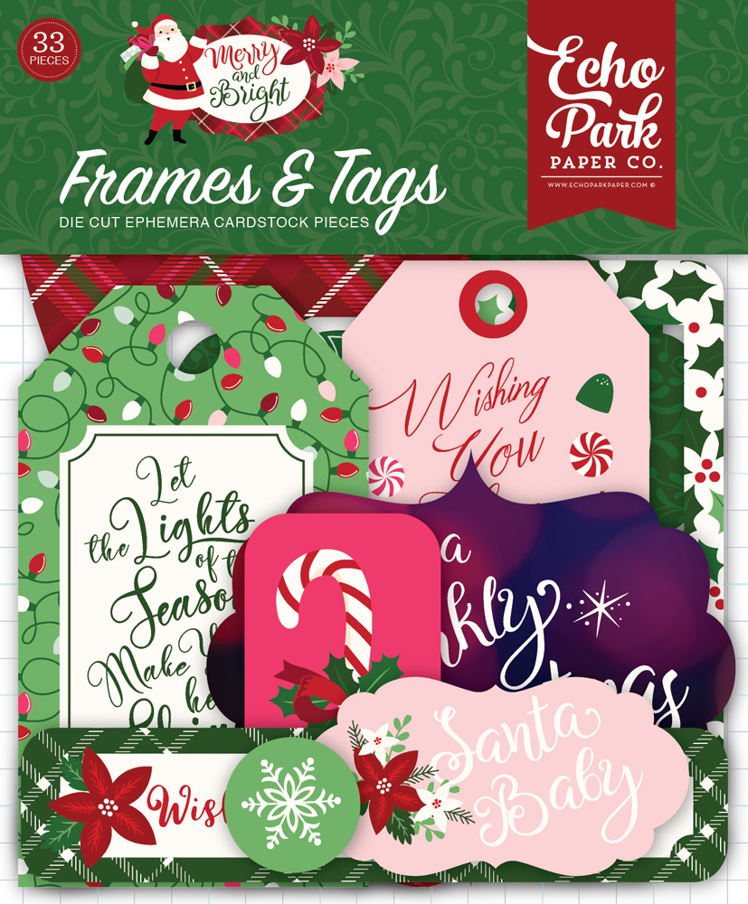 MB160025 Merry And Bright Frames & Tags Ephemera