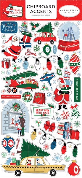 CBMC107021 Merry Christmas Chipboard Accents