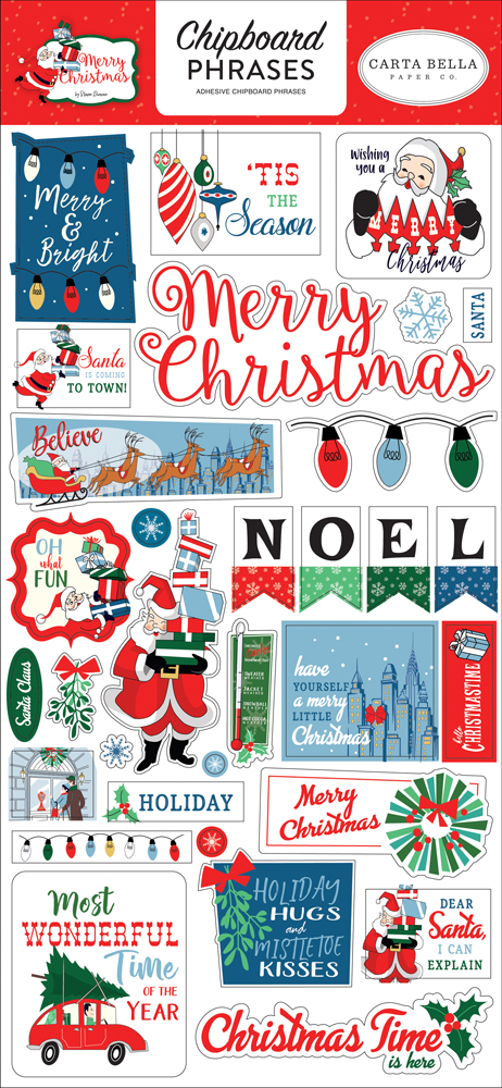CBMC107022 Merry Christmas Chipboard Phrases