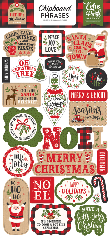 MFC190022 My Favorite Christmas  6x13 Chipboard Phrases