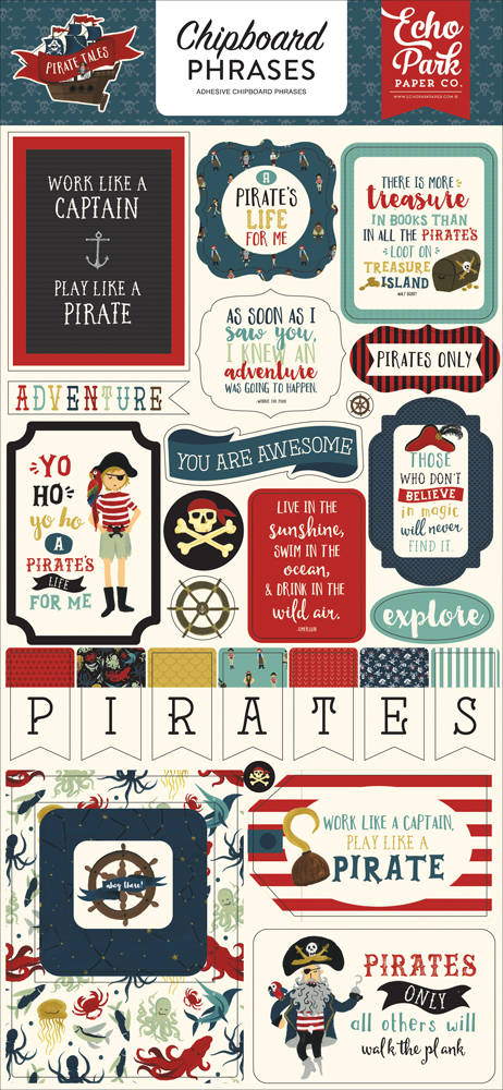 PTA176022 Pirate Tales 6x13 Chipboard Phrases