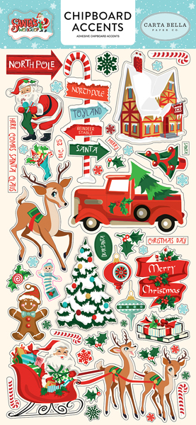 CBSW90021 Santas Workshop 6x12 Chipboard Accents