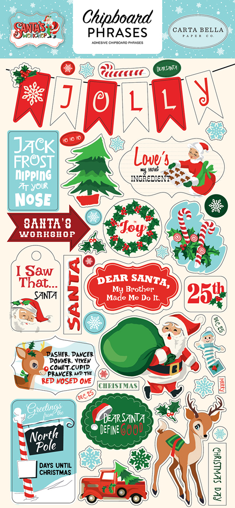 CBSW90022 Santas Workshop 6x12 Chipboard Phrases