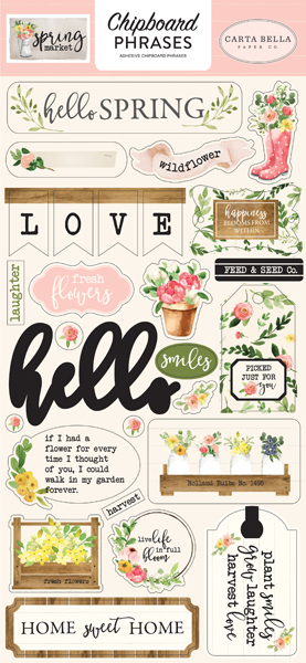 CBSM80022 Spring Market 6X13 Chipboard Phrases