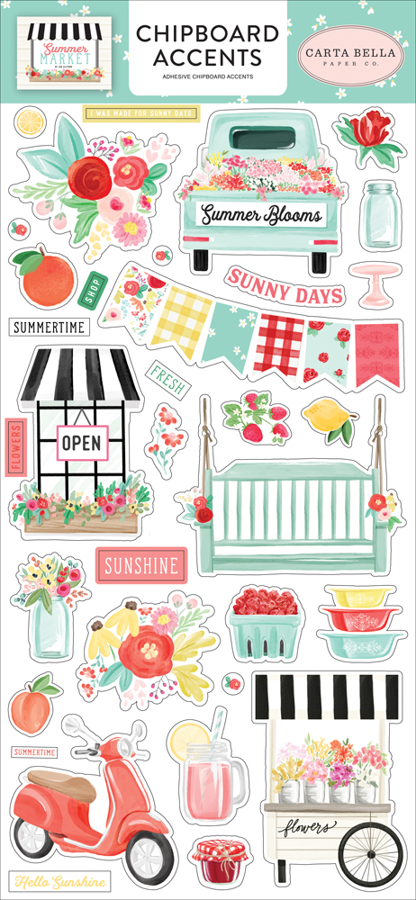 Carta Bella Paper Company CBSUM115020 Summer Market Adhesive brads Green Pink Black red Yellow Teal