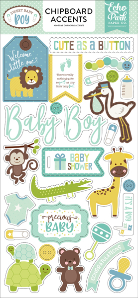 SBB143021 Sweet Baby Boy 6x12 Chipboard Accents