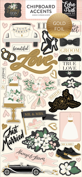 WD181021 Wedding Day Chipboard Accents Gold Foiled