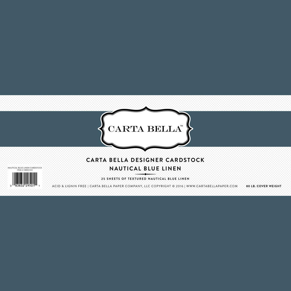 Nautical Blue Linen Cardstock 80lb. Cover