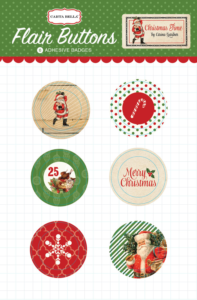 Christmastime Flair Buttons Packaging