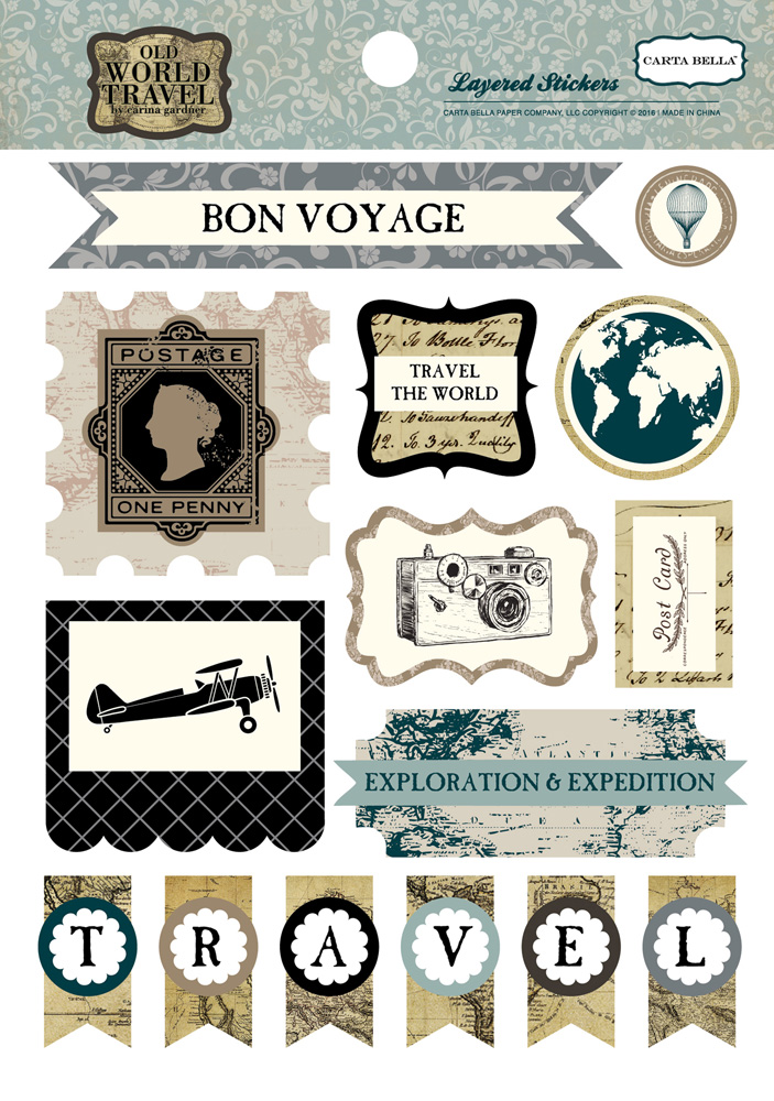 CBOWT53025 World Travel Layered Stickers